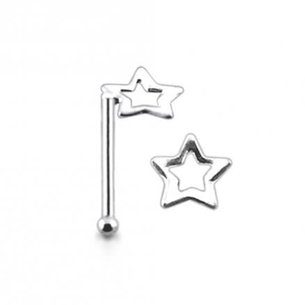 925 Silver DI Cut Star Nose Stud