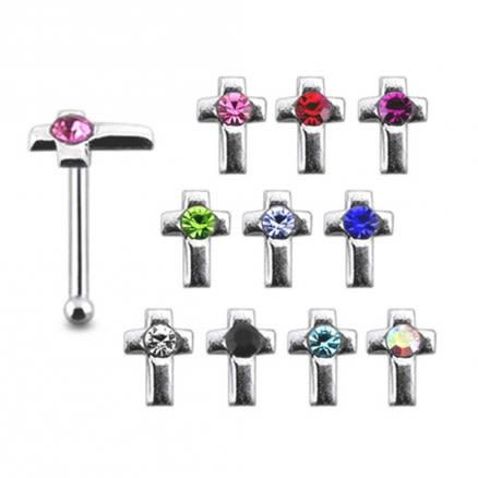 Jeweled Cross 925 Silver Nose Stud