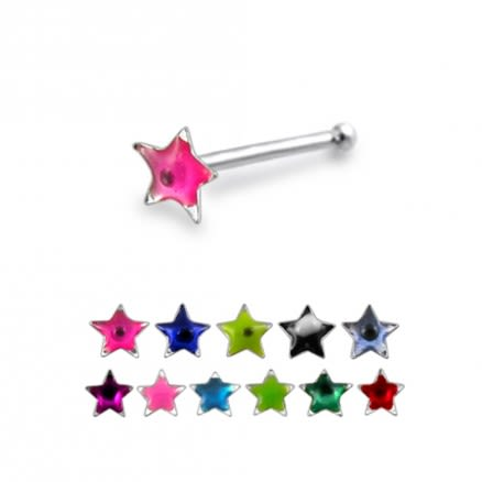 Hand Painted Star 925 Silver Nose Stud