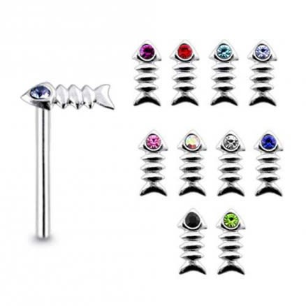 925 Silver Jeweled Fish Bone Nose Stud