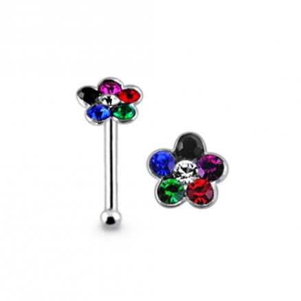 Multi Color Stone 925 Silver Jeweled Flower Nose Stud