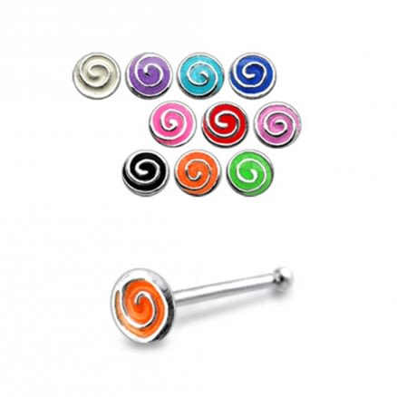 925 Silver Hand Painted Spiral Nose Stud