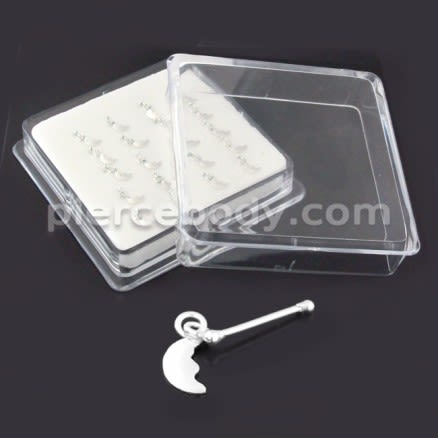 925 Sterling Silver Nose Stud with Hanging Moon Face Design in Box