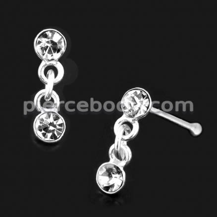 925 Sterling Silver Nose Stud with Hanging CZ Stone in Box
