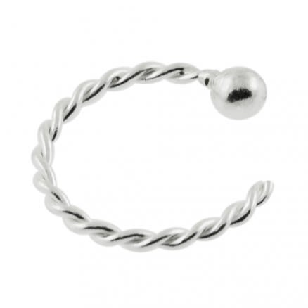 925 Sterling Silver Twisted Open Hoop Nose Ring with Ball