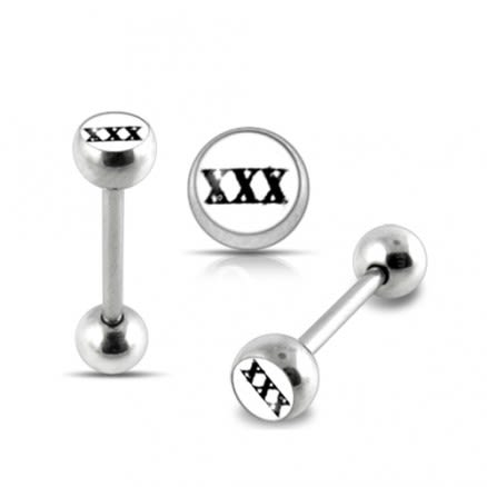 White Triple X Logo Tongue Ring