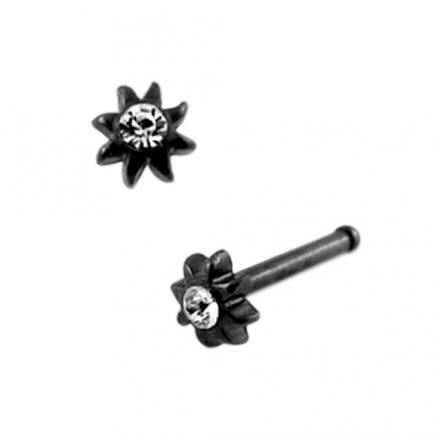 316L SS Anodized Black Jeweled Sun Nose Pin