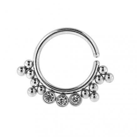 Tribal Multi Dotted Pattern Jeweled Septum Ring Jewelry