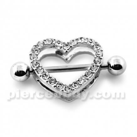 Multi Jeweled Heart Surgical Steel Nipple Piercing