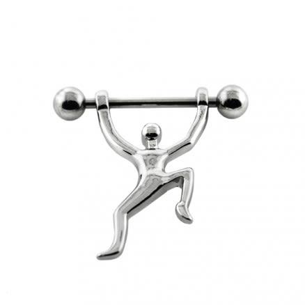 Climbing Man on Nipple Piercing Jewelry