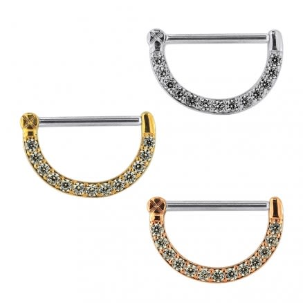 Multi Round Jeweled CZ Nipple Clicker Piercing