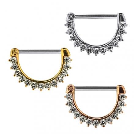 Jeweled Round CZ Nipple Clicker Piercing Jewelry