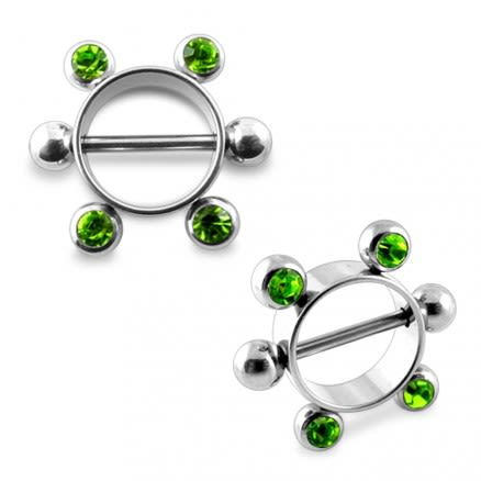 Peridot Gem Surgical Steel 12mm Nipple Rounder