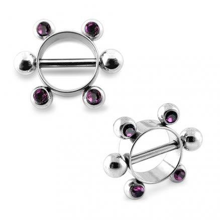 Amethyst Jeweled Surgical Steel Nipple Rounder