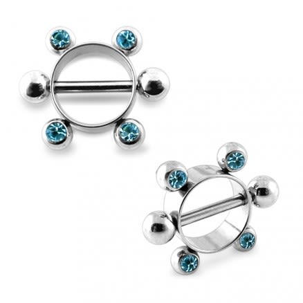 Aqua Jeweled Surgical Steel Nipple Rounder