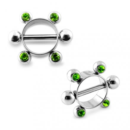Peridot Jeweled Surgical Steel Nipple Rounder