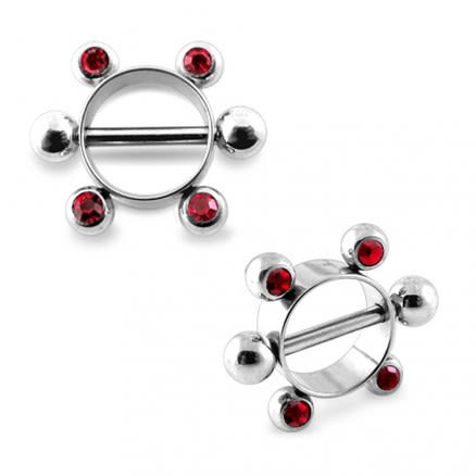 Red Jeweled Surgical Steel Nipple Rounder