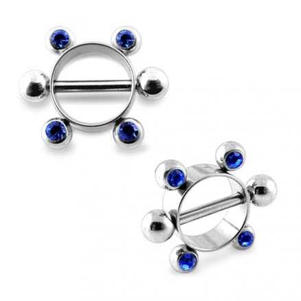 Sapphire Jeweled Surgical Steel Nipple Rounder