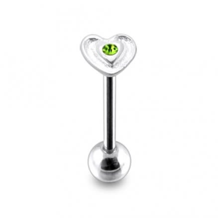 Green Color Stone Heart Flower Silver Tongue Ring