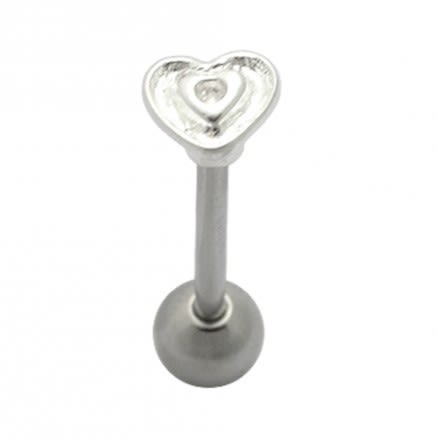 Engraved Heart Plain Tongue Ring