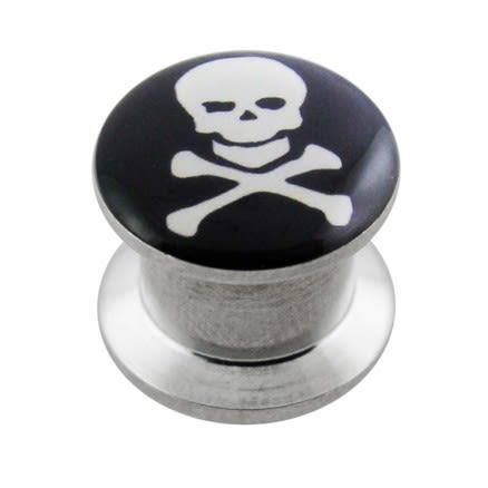 SS Internal Screw Fit Skull Logo Ear Tunnel