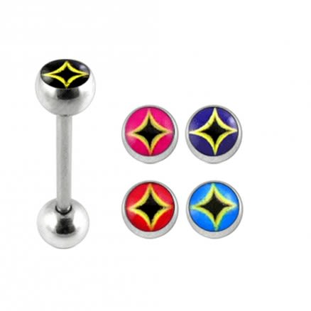 14G SS Tongue Barbell with 4 Free Logo Ball