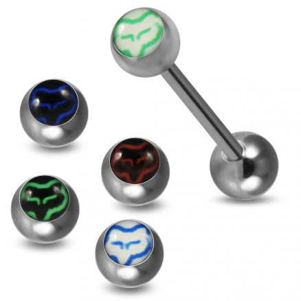Tongue Barbell with 4 Free Interchange Fox Logo Ball