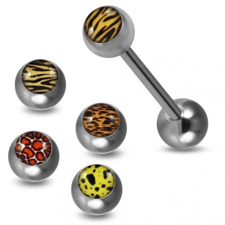 Tongue Barbell with 4 Free Interchange Animal Skin Printed Logo Ball