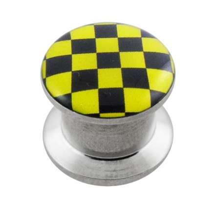 SS Internal Screw Fit With Yellow Checker Logo Ear Tunnel