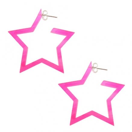 24mm Pink UV 5 Star Ear Hoop