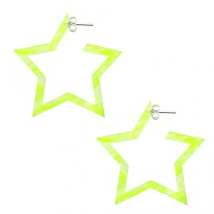 24mm Yellow UV 5 Star Ear Hoop