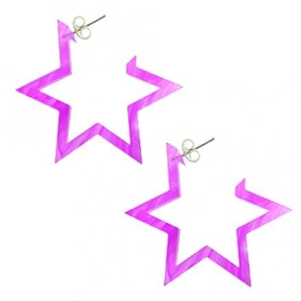 28mm Amethyst UV 6 Star Ear Hoop