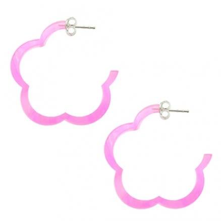 25mm Pink UV Flower Ear Hoop