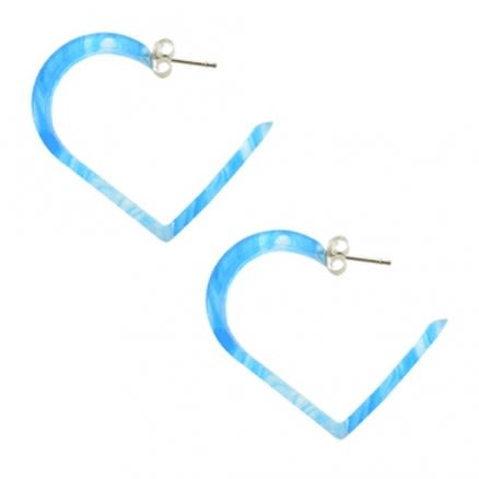 30mm Aqua UV Heart Ear Hoop