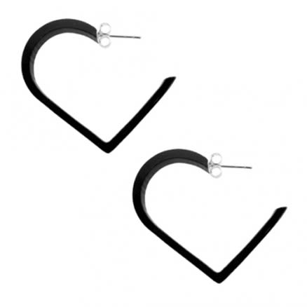 30mm Black UV Heart Ear Hoop