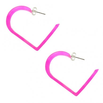 30mm Pink UV Heart Ear Hoop
