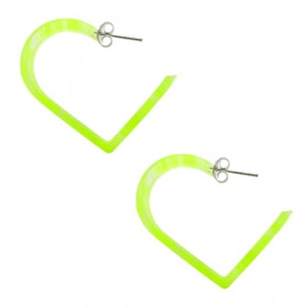30mm Yellow UV Heart Ear Hoop
