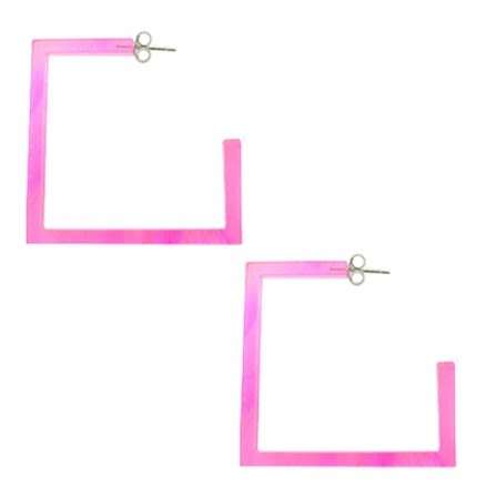 32mm UV React Acrylic Square Ear Hoop