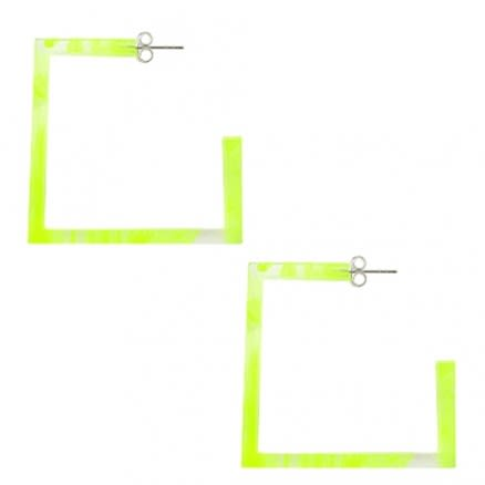 Cat Eye Stone 32mm UV React Square Ear Hoop