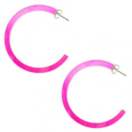 925 Sterling Silver 32mm Pink UV React Circle Ear Hoop