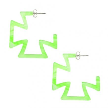 28mm Peridot UV Cross Ear Hoop