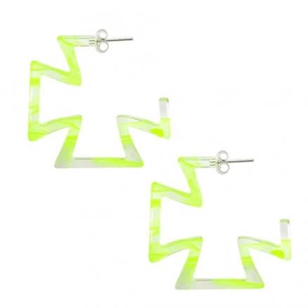 28mm Yellow UV Cross Ear Hoop