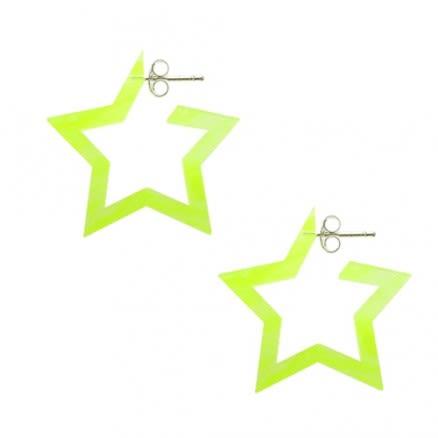 Yellow UV React Star Ear Hoop