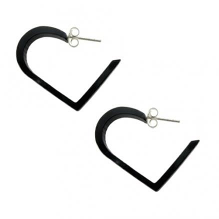 Black UV Heart Ear Hoop