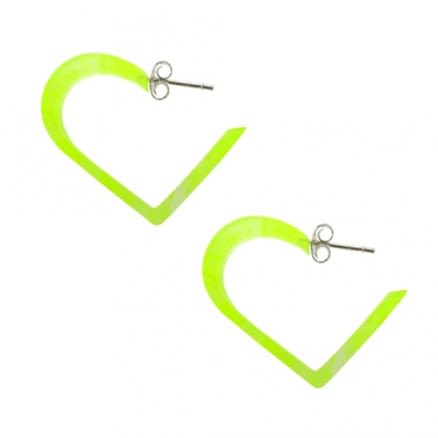 Green UV Heart Ear Hoop With Silver SUM2005YE