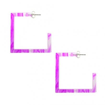 26mm Amethyst UV Square Ear Hoop