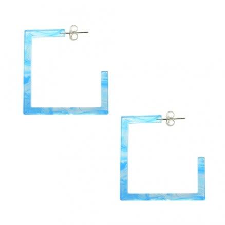26mm Aqua UV Square Ear Hoop