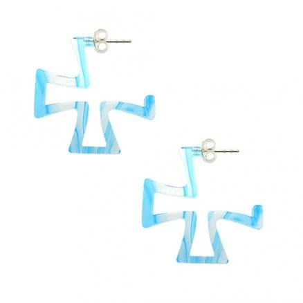 Aqua UV Irish Cross Ear Hoop