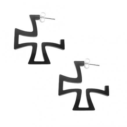 Black UV Irish Cross Ear Hoop