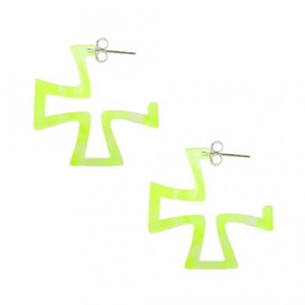 Yellow UV Irish Cross Ear Hoop